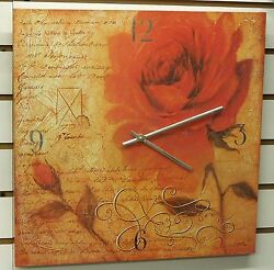 LARGE 16 SQUARE POSTER BOARD WALL CLOCK - DISPLAYING A LARGE ROSE