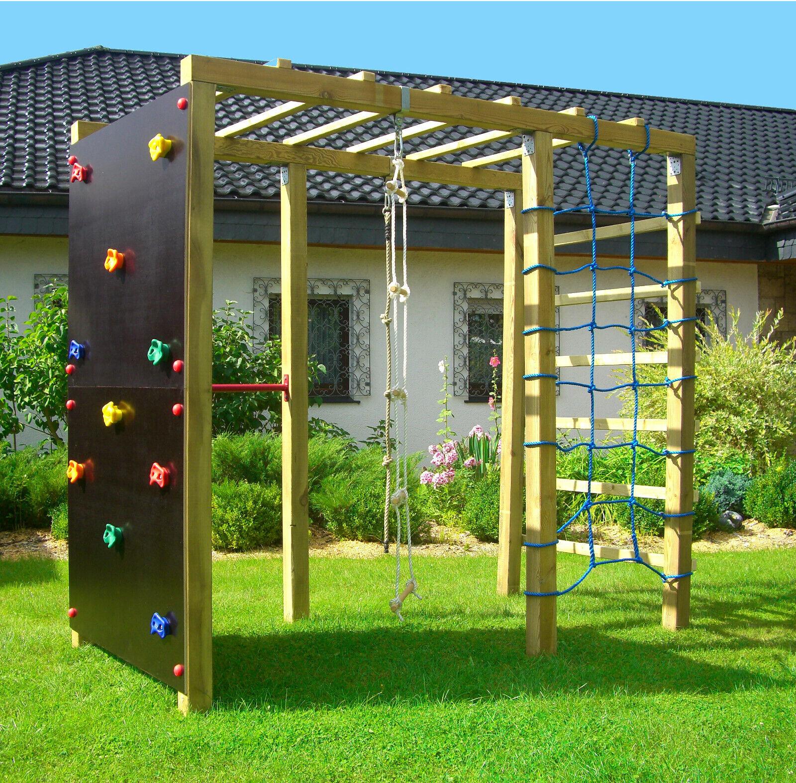 XXL Klettergerüst 2,4m Kletterturm aus Holz mit Kletternetz Reckstange Leiter