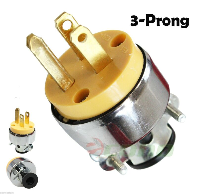 New 3-Prong Replacement Male Electrical Plug Heavy-Duty Free Shipping