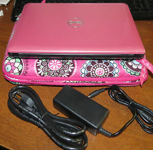Dell-inspiron-mini-1011-10-1-Notebook-w-Vera-Bradley-Laptop-Case-Pink-EXC