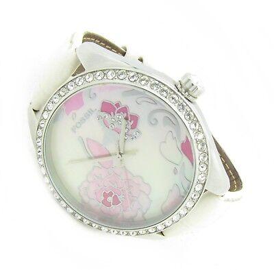 Fossil XXL Kristall Blume Damen Armband Uhr Leder Perlmutt rosa ES-2242 5ATM N85