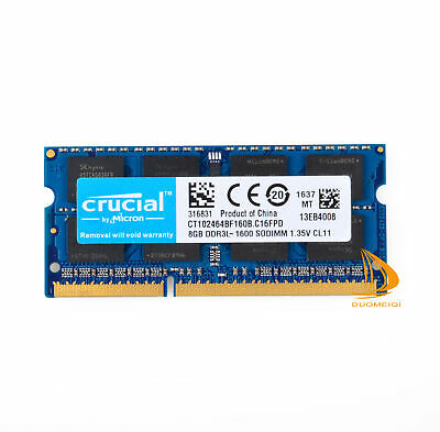 Crucial 8GB 2Rx8 PC3L-12800S DDR3L-1600MHz SODIMM Laptop-Speicher RAM 204Pin @DD