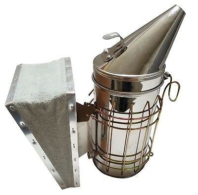 Bee Hive Smoker Stainless Steel With Heat Shield Beekeeping Free Shipping