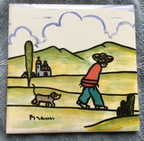 Rare Signed Vtg Lamosa Tile - Ladrillera Monterrey - Mexico - Man Walking w/ Dog