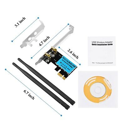 1200Mbps PCI-E Wireless WiFi Card 2.4G/5G Dual Band Network Adapter for Desktop Computer Components & Parts