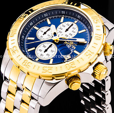 Invicta Maverick Aviator Chronograph High Polish 18k Gold Plated 2-Tone SS Watch