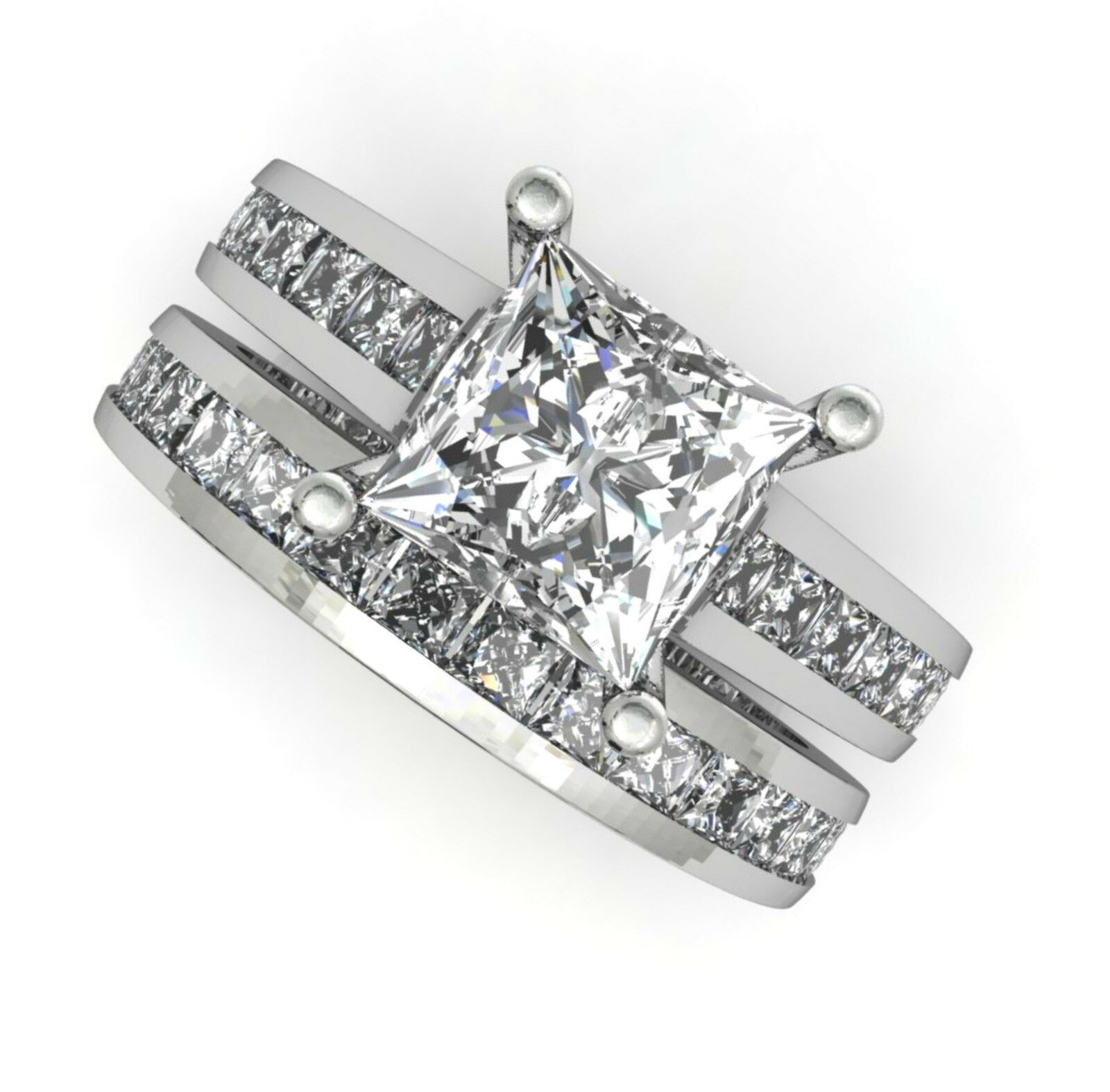 32ct Princess cut channel set engagement ring wedding band solid 14k white gold