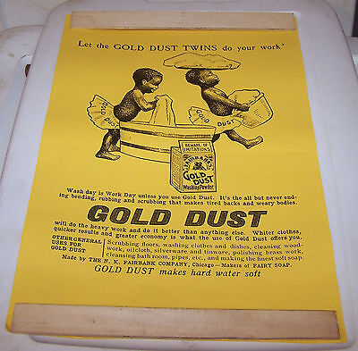"""Gold Dust Twins Soap Black Americana Paper Sign about 18"""" x 12.5"""
