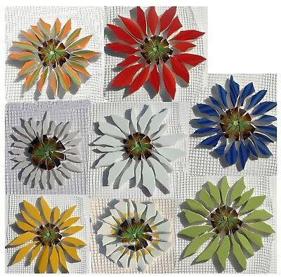 Broken China Mosaic Tiles, Large Aster Daisy 8 Color & Shape Variations
