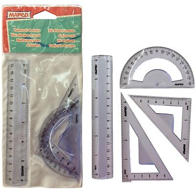 Geometry Set x 2,Maths Protractor,Ruler,Squares/Triangles School Stationery Pack