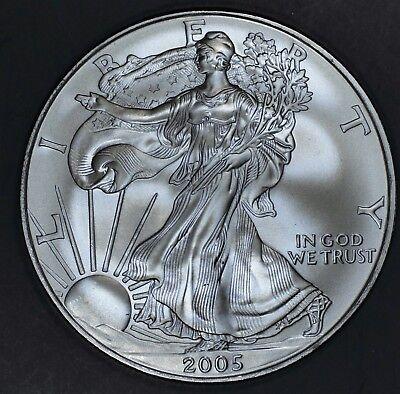 2005 1 oz AMERICAN SILVER EAGLE BRILLIANT UNCIRCULATED ASE  SKU2005B