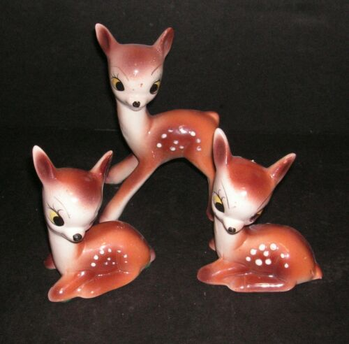 Vintage Japan1950s Pottery Deer Fawn Family Big Eyes - Set of 3