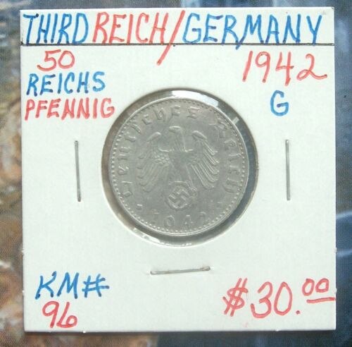 1942-G Germany 50 Pfennig Aluminum Foreign Coin KM-96 Nice Condition