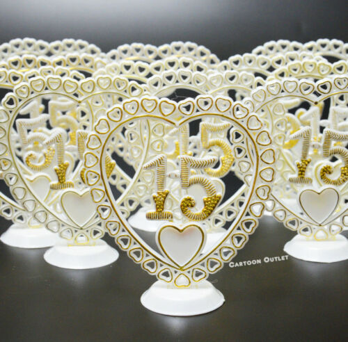 12 QUINCEANERA MIS QUINCE # 15 PARTY FAVORS CENTER PIECE DECORATION Pic w stand
