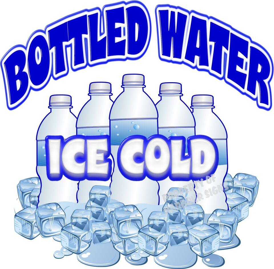 Ice Cold Bottled Water Drink Beverage Concession Beverage Food Truck Decal 14""