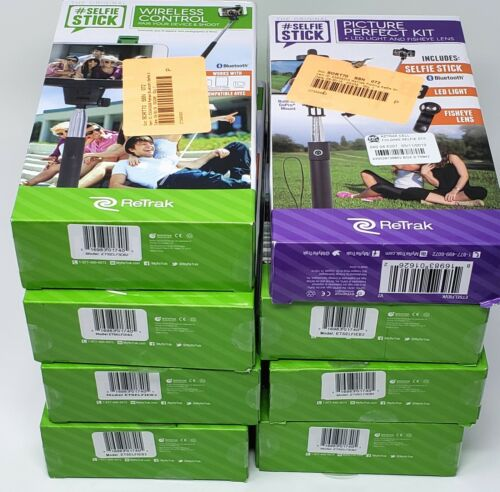 BULK LOT ReTrak Selfie Stick - 9 NEW UNITS IN RETAIL PACKAGING - WHOLESALE LOT