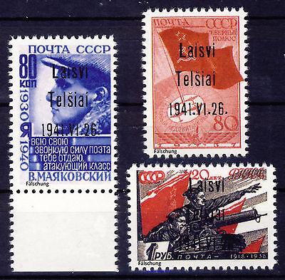 """Litauen """" Telschen """" 1938 Mi# 8-10 Aufdruck Typ III (*) REPRINT Fälschung"""