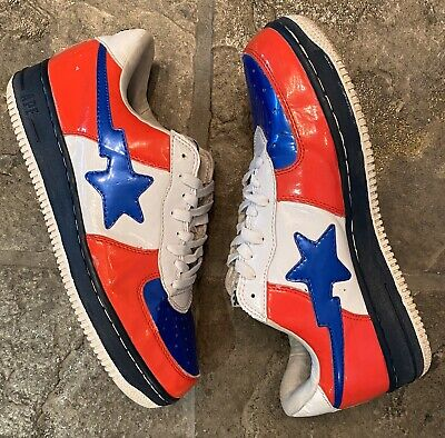 A Bathing Ape FootSoldier Bapesta Red White Blue Captain America Men's Size 10
