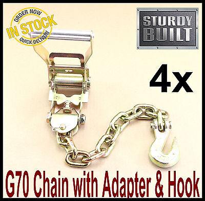 16PC Chain Ratchet Strap Tie Down G70 Flatbed Tow Hauler Carrier Wrecker Trailer ()