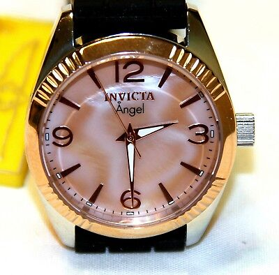 Invicta 15880 Angel Womens 18k Rose Gold Mother of Pearl Quartz Stainless Watch