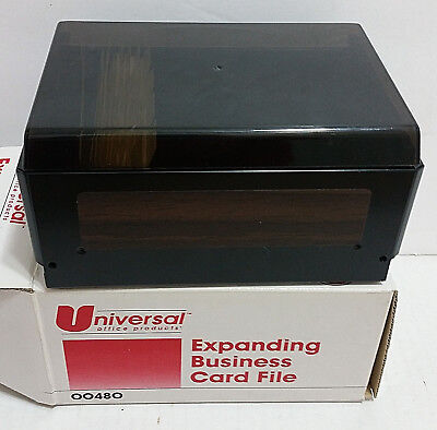 New Woodgrain Universal Expanding Business Card File 00480 W Tabs Vtg Nos Metal