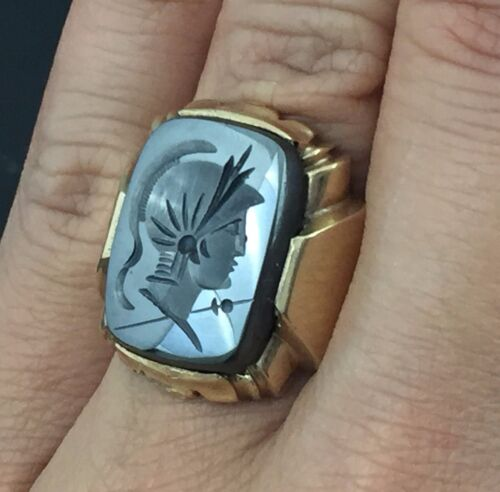 Vintage 10K Gold Roman Soldier Hematite Cameo Ring Size 9