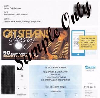 Tickets (2) Cat Stevens Qudos Bank Arena Sydney 4th Dec 2017 8pm