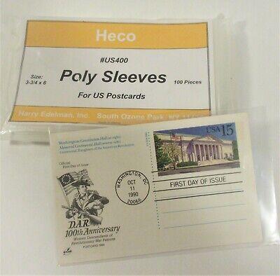 "100 U.S. POSTCARD POLY SLEEVES, HECO #US400, 3 MIL THICK, 3-3/4"" x 6"""