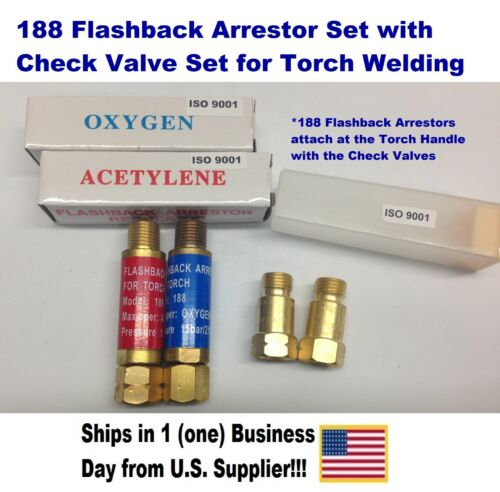 OXYGEN/ACETYLENE WELDING, TORCH END CHECK VALVES W/FLASHBACK ARRESTORS 188