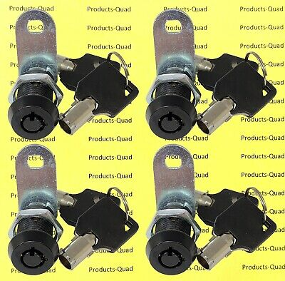 4x Black Tubular 1 Cam Lock - Keyed Alike - Cabinet Camper Removable Key