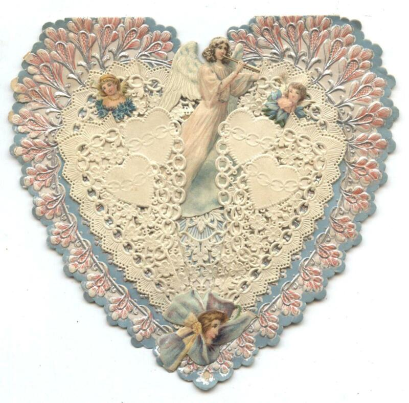 Lot of 3 Antique Valentines Cards 1900s with heart doily