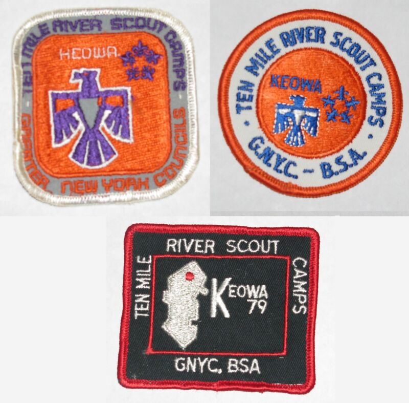 Camp Keowa [TMR] (NY) Lot of 3 1970s Pocket Patches  BSA  #0144