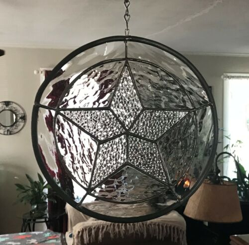 """Stained Glass Texas Star Suncatcher with Crystal Clear Bevels - 9-1/2"""" Circle"""