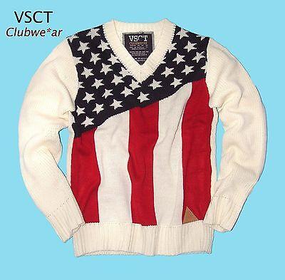 Acryl White Star (Strick Pullover by VSCT *STARS & STRIPES V NECKE Pullover*Knit Shirt white *Neu)