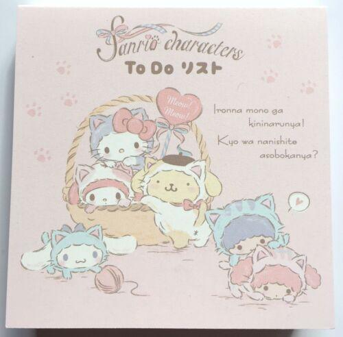 Sanrio Character Kitty My Melody Kiki Lala Mini Memo Pad To Do List MADE JAPAN