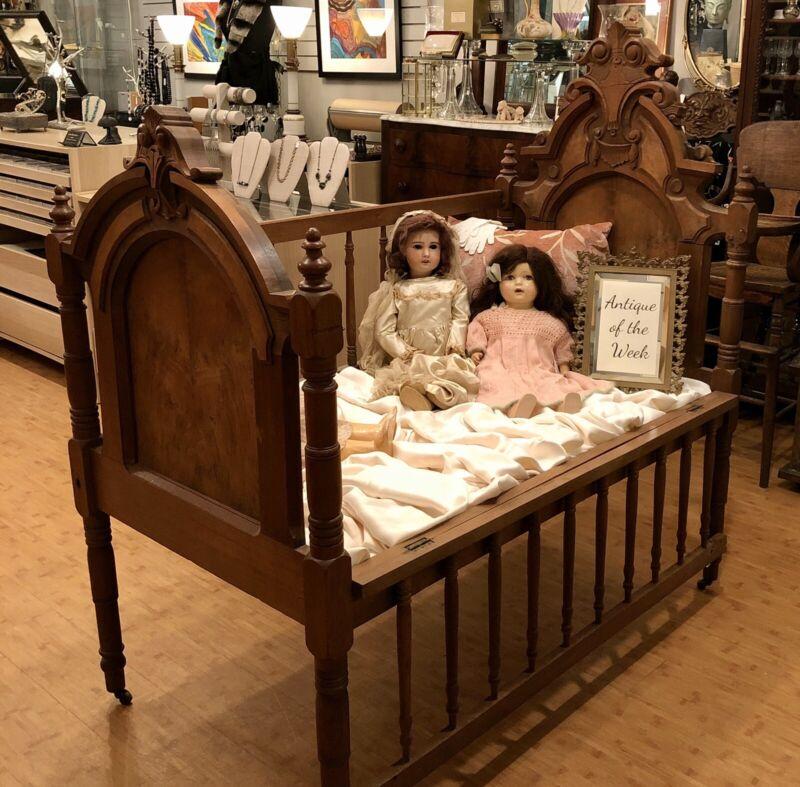 Antique Original Victorian Renaissance Revival Walnut Baby Crib Doll Display