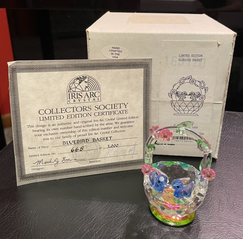 Iris Arc Crystal Bluebird Basket Limited Edition #665/1000 Mint in Box