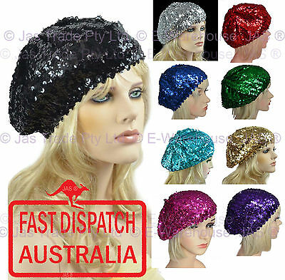 1 Ladies Girls French 70s Costume Party Dance Disco SEQUINED SEQUINS Hat BERET  - French Beret Costume