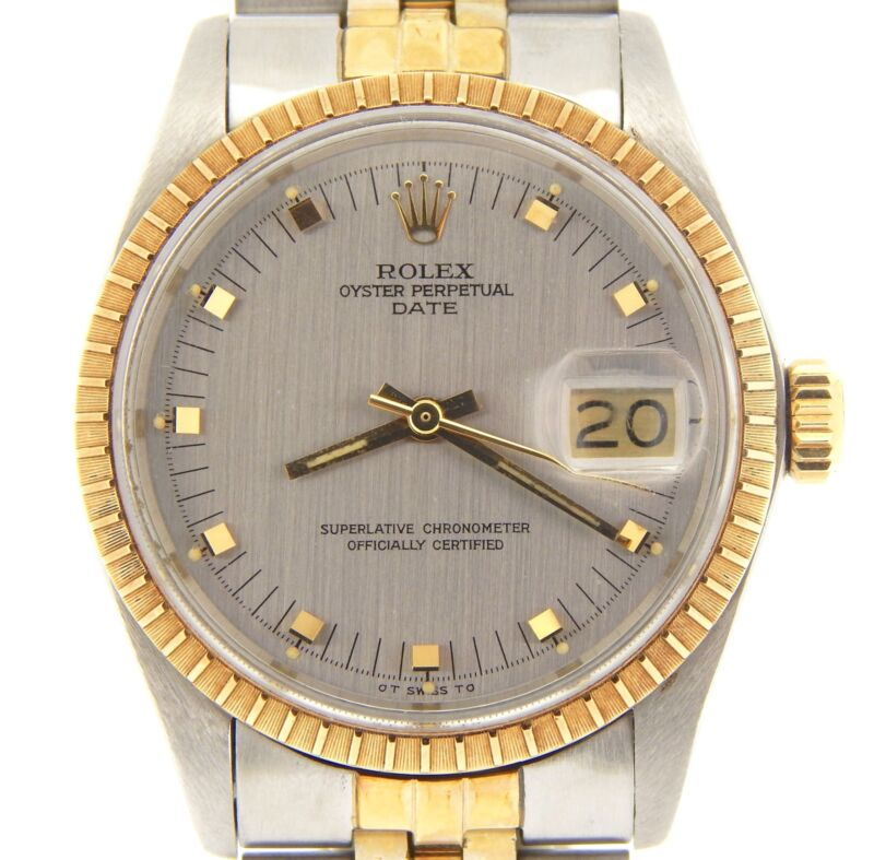 Rolex Date 1505 Mens Yellow Gold & Stainless Steel Watch Gray Slate Dial