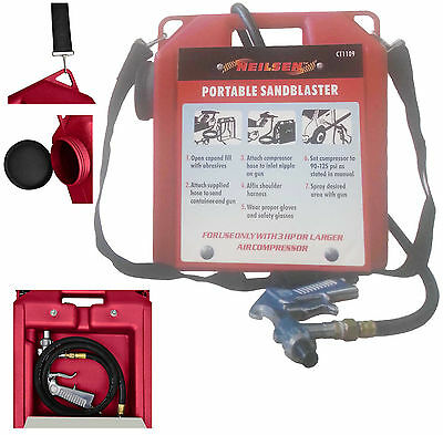 30 LB 3HP Portable Air Sandblaster Sand Blaster Shot Grit Blasting Set Kit + Gun