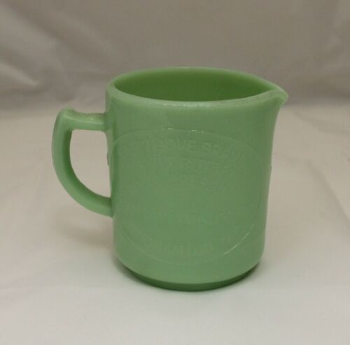 Jadeite Green Measuring Cup Cream Dove Co. Binghamton, NY Retro Depression Glass