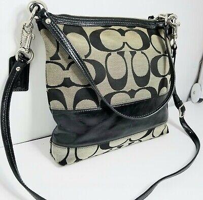 Coach Purse Handbag Signature C Tote Tan mid size Bag  Pre-owned clean