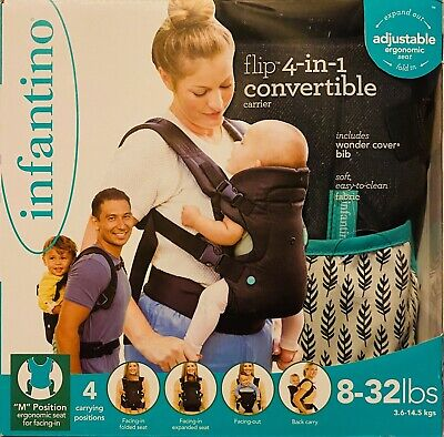 Infantino Baby Carrier Advanced 4-in-1 Convertible Carrier, Black, Adjustable