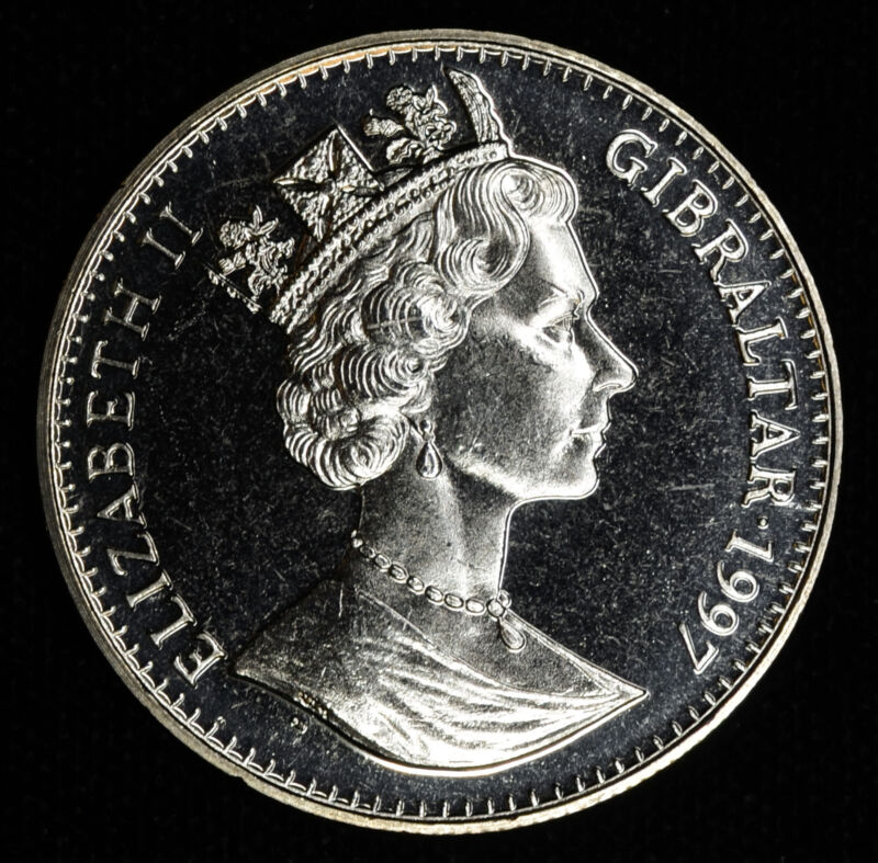 Gibraltar 1 Crown 1997 Gem BU PL 1C UK Britain Queen Elizabeth II Birthday