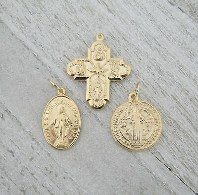 3 MEDIUM Charm Holy Medal ITALY Saint St BENEDICT 4 (four) WAY Miraculous GOLD ()