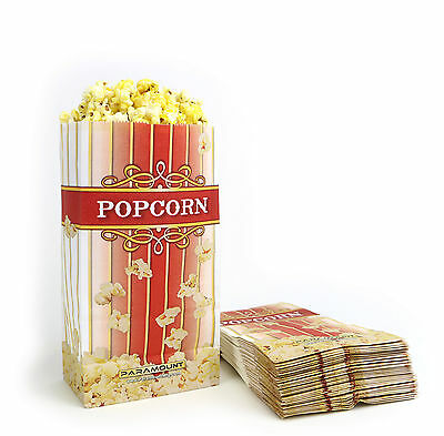 100 Popcorn Serving Bags, 'Small' Standalone Flat Bottom Paper Bag Style (Paper Popcorn Bags)
