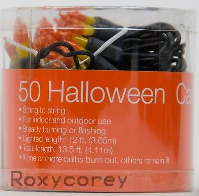 Halloween 50 Candy Corn String Light Set Lighted Length 12 ft Black Wire NIB