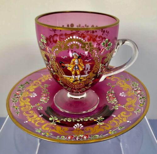 Antique Bohemian Czech Moser Hand Painted Tea Cup And Saucer
