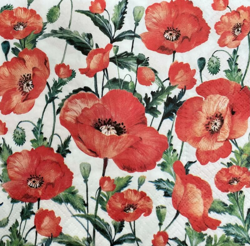 TWO Individual Paper Luncheon 3-Ply Decoupage Napkins FLANDERS POPPY Flowers