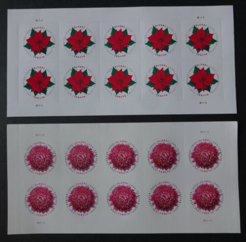 Global Forever stamps 2 sheets of 10 Poinsettia & Chrysanthemum MNH